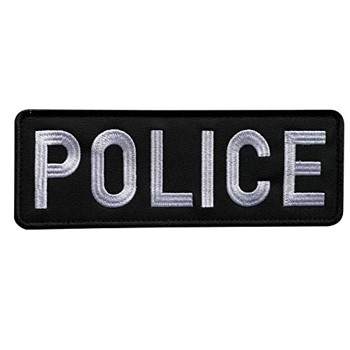 uuKen Embroidery Cloth Fabric Police Vest Patch Black and White for Military Police Tactical Vest Jacket Plate Carrier Back Panel (Black and White, Large 8.5