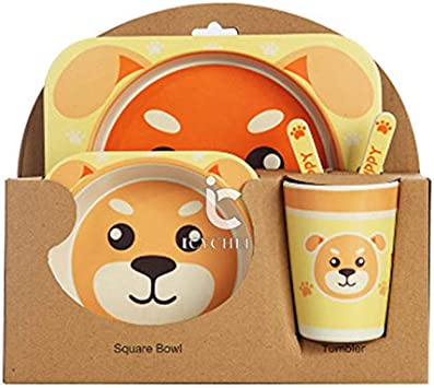 bluebees ICYCHEER Super Cute Animal Theme Kids Dinnerware Set Eco-Friendly Bamboo Kids Cups Kids Plates Bowl Toddler Fork /& Spoon