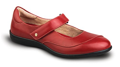Revere Amalfi Women's Comfort Shoe with Removable Foot Bed and Adjustable Strap: Red 9 Medium (B) Velcro by Revere