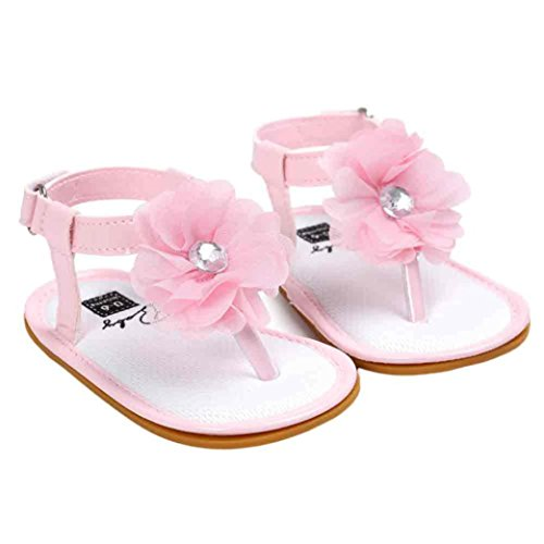 Voberry Baby Infant Girls Flower Pearl Princess Sandals Soft Sole First Walker Crib Shoes (0~6 Month, Pink)