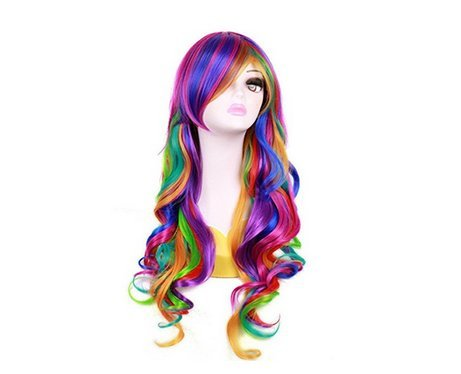 Wigbuy 27inches Cosplay Rainbow Harajuku Style Lolita Spiral Colorful Fiber Synthetic Halloween Wig Hair wigs Ideas Synthetic Heat Resistant Fiber Natural Long Wigs for Women (Cosplay Halloween Ideas)