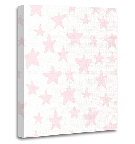 Emvency Painting Canvas Print Artwork Decorative Print Baby with Cute Pastel Pink Little Stars on White Messy Festive Sweet Manga Sky Wooden Frame 24x32 inches Wall Art for Home (Framed Mini Gingham)