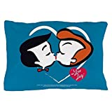 CafePress - I Love Lucy: Stick Heads Kiss - Standard Size Pillow Case, 20''x30'' Pillow Cover, Unique Pillow Slip