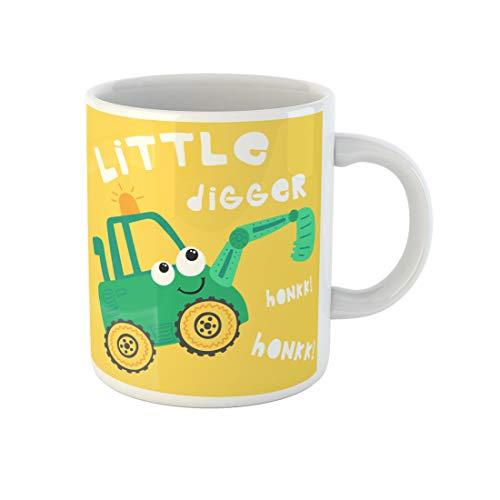 Topyee 11 Oz Coffee Mug Cute Cartoon Digger Excavator Bucket Mining Truck Coal Dump Backhoe Build Bulldozer Ceramic Tea Cup Mugs Birthday Holiday Gift or Souvenir for Family Friends from Topyee