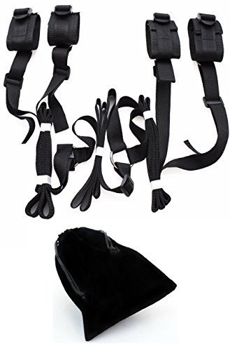 [Medical Bondage Bed Restraint System With Fabric Bag (Black) | Adjustable Under the Bed, Bondage Restraints With Cuffs For Ankles And Wrists | Fits Almost Any Size] (Book Week Costumes For Sale)