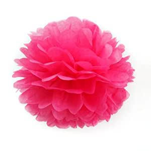 Paper Pom Poms For Birthday Party Wedding Annual Home Decoration Hot Pink 10cm