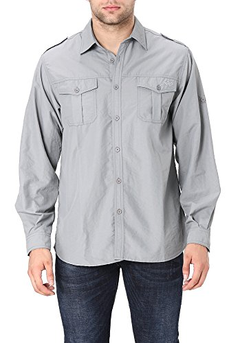 Men's Standard Quick-Dry Nylon Breathable Convertible Long Sleeve Fishing Shirt, Deep Grey, Medium ()