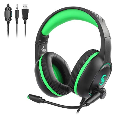 Kubite K13 Wired Stereo Gaming Headphones Microphone Earphone Headset for PS4 (Green, Free)