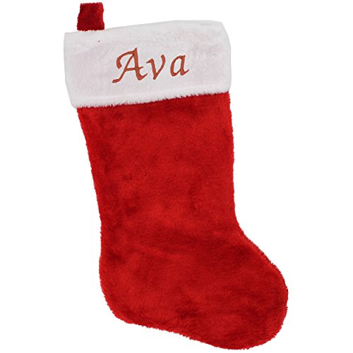 Monogrammed Christmas Stocking with Name - Classic Red and White Personalized Gift for Xmas Stockings - Embroidered for Free -