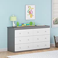 Contemporary Baby Dresser | 6 Drawer Chest Dresser For Baby, Toddler, Children Nursery Bedroom Decor Furniture | Made of MDF ( Grey & White Finish ) - Includes FREE (TM) EBOOK