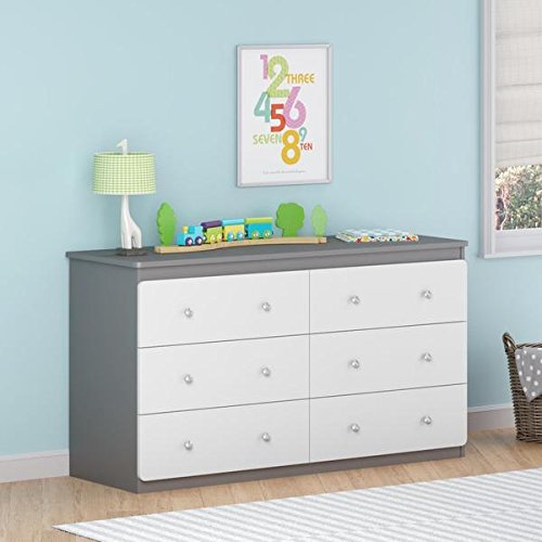 Contemporary Baby Dresser | 6 Drawer Chest Dresser For Baby, Toddler, Children Nursery Bedroom Decor Furniture | Made of MDF ( Grey & White Finish ) - Includes FREE (TM) EBOOK by TMHG