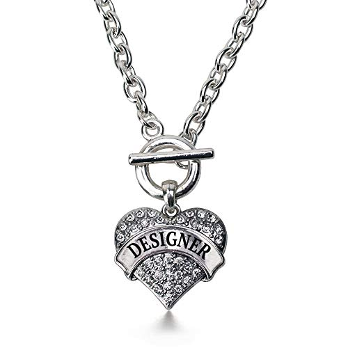 Inspired Silver - Designer Toggle Charm Necklace for Women - Silver Pave Heart Charm 18 Inch Necklace with Cubic Zirconia Jewelry
