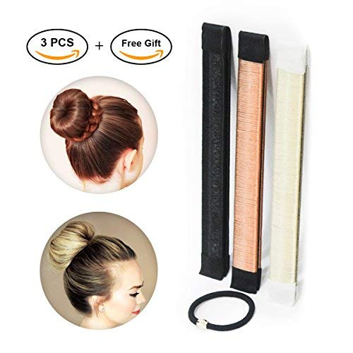 Hair Bun Maker  Easy Sock Buns Fast French Curler Magic Donut Twist Shaper  Perfect DIY Accessories Styling Tool for Girls Women  3 PCS Black Blonde Brown 1 Metal Lotus Hair Clip 1 Hair Tie