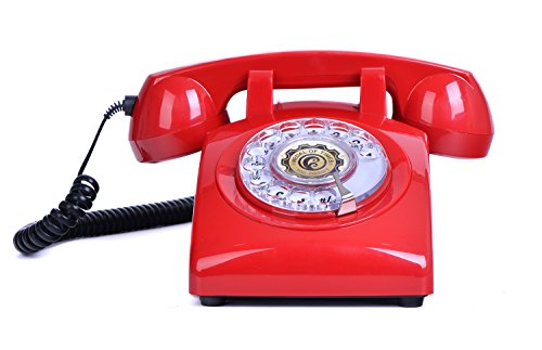 Sangyn 1960's Classic Style Rotary Dial Phone Retro Vintage Home Corded Telephone,Red