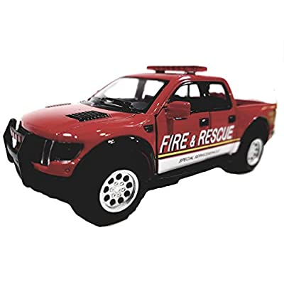 KiNSMART 2013 Ford F-150 SVT Raptor Supercrew (Rescue FIRE): Toys & Games