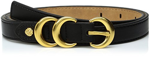 Ak Anne Klein Women's Anne Klein 20mm Skinny Belt With Contrast Tab and Double Metal Keepers, black, L