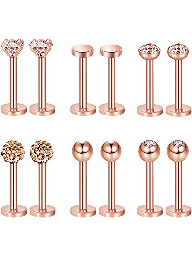 Sumind 6 Pairs Stainless Steel Nose Studs Tragus Bars Labret Bars Crystal Ball Body Piercing Jewelry, 6 Designs, 16 Gauge (Rose Gold)