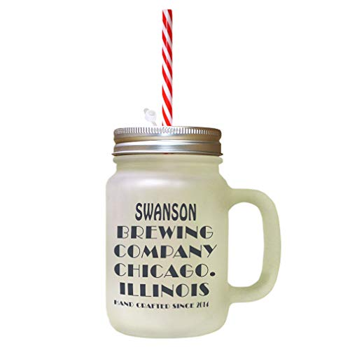 (Personalized Custom Sign Brewing Company Frosted Glass Mason Jar With Straw)