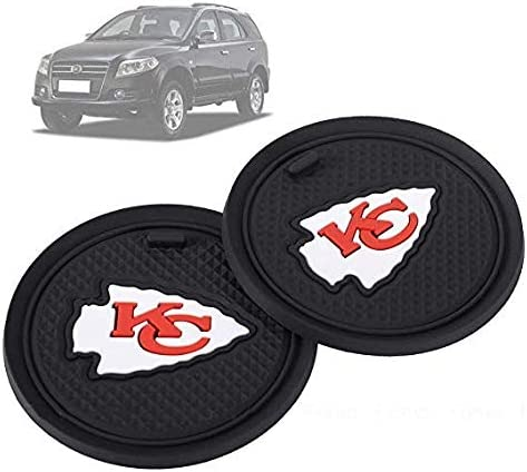 Fujun Upgraded 2 Pcs 2.75 inch for Denver Broncos Car Interior Accessories Anti Slip Cup Mat for All Vehicles(Denver Broncos)