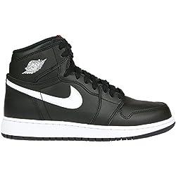 Jordan Nike Boy's Air 1 Retro High Basketball Shoe Black/White-Black-University Red 4Y