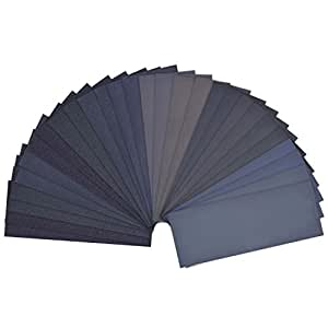 28 Pieces 120 to 3000 Grit Wet Dry Sandpaper Assortment Abrasive Paper Sheets 9 by 3.6 Inches for Automotive Sanding, Wood Furniture Finishing, Wood Turing Finishing