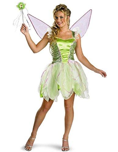 Disguise Women's Disney Fairies Tinker Bell Deluxe Costume, Green, Junior 7-9
