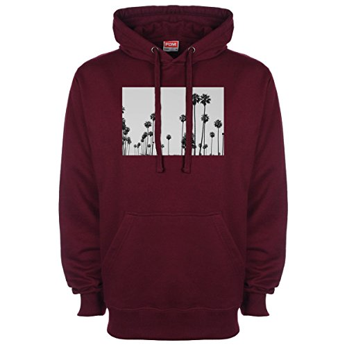 Palm Trees Los Angeles Picture Hoodie - Burgundy - Medium (40 inches)