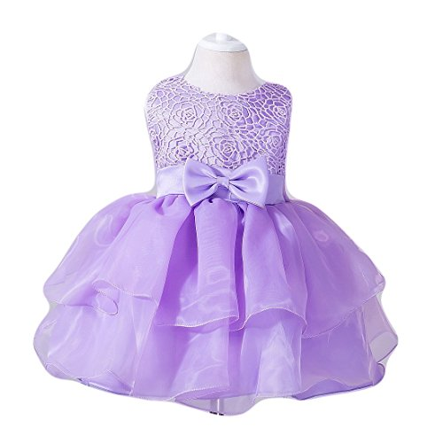 - Ruffles Dress for Baby Girl Newborn Wedding Party Lace Tulle Pearl Tutu Size 16 0-6 Months Special Occasion Tops Bridesmaid Ball Gown Infant Tea Length First Easter Cake Dresses Light (Purple S)