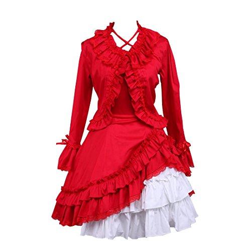 Rot Partiss Damen Langarm Cospaly Rot Partykleid Weiss Kleider Kleid Lolita 55aTwCrqn