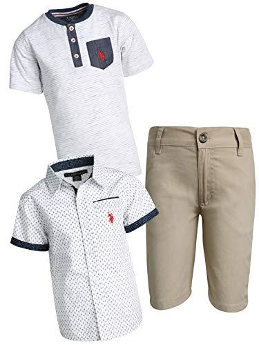 U.S. Polo Assn. Boys' 3-Piece Short Set with Collared Shirt and Fashion T-Shirt, Khaki/White Arrows, Size 2T'