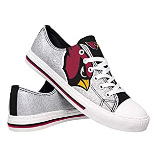 FOCO NFL Womens Ladies Glitter Low Top Canvas Sneaker Shoes