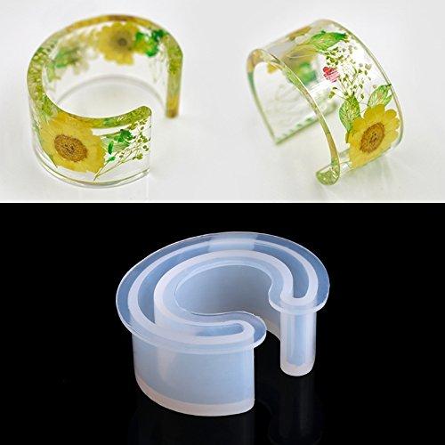 TOOGOO Nuovi monili aperti della muffa del silicone del polsino che fanno braccialetto stampo del braccialetto per il fiore della resina DIY