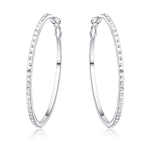Silver Swarovski Elements Crystal Diamond Accent Superstars Earrings Hoops Set for Women, with a Gift Box, White