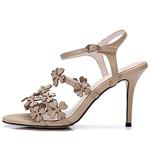 Nine Seven Cuero Moda Puntera Abierta Sandalias de Tacón Aguja de Vestir con Correa de Tobillo y Flores para Mujer albaricoque