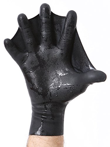 DarkFin Webbed Power Swimming Gloves (1 Pair) for Men, Women, Scuba Diving, Snorkeling, Spearfishing, Surfing in Cold Water, Ultra Thin Hand Fins, Pool Swim Paddles, Black, Men Medium Large