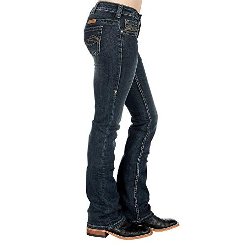 Cowgirl Tuff Co Womens Dont Fence Me in Dark Stonewash Jeans 34 Reg Dark Wash (Cruel Girl Relaxed Jeans)