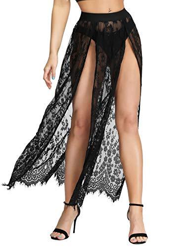 - SCARLET DARKNESS Women Casual Mesh Lace Maxi Skirt Wrap Skirts XL Black