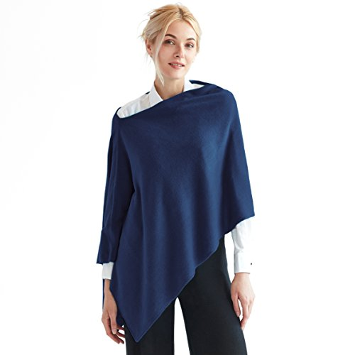 - Faux Cashmere Acrylic 3-in-1 Poncho Topper Wrap FREE Linen Pouch One Size