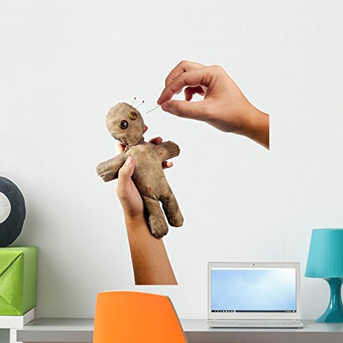 Wallmonkeys Hands Holding Creepy Voodoo Doll with Needles Wall Decal Peel and Stick Graphic WM67187 (24 in H x 18 in W)