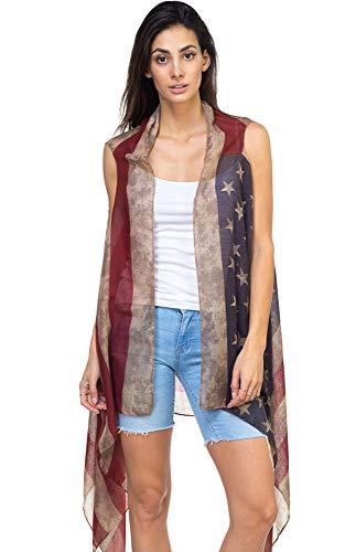 CCFW Women's USA Flag Theme Vintage Kimono Shawl Vest