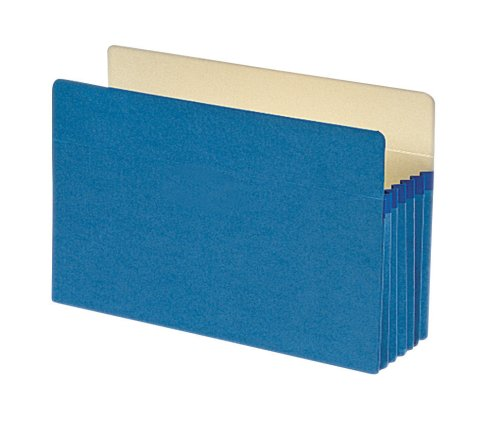 "Smead File Pocket, Straight-Cut Tab, 5-1/4"" Expansion, Legal Size, Blue, 10 per Box (74235)"