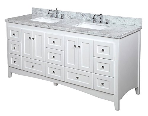 white double sink bathroom kitchen bath collection kbc3872wtcarr abbey bathroom vanity with marble countertop cabinet with soft close function and undermount ceramic sink