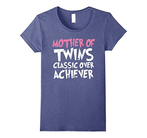 Womens Mother Of Twins Classic Over Achiever Vintage Twin Mom Shirt XL Heather Blue