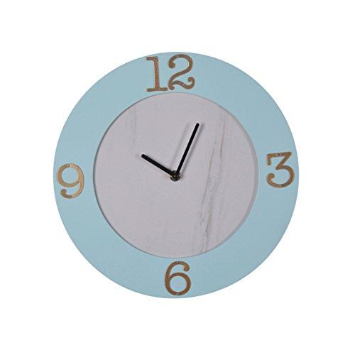 Sconce Wood Standard (Sagebrook Home Wood Wall Clock, Light Blue, Window Box, 12 x 12 x 1.25 Inches)