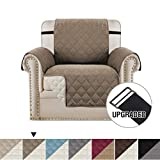 H.VERSAILTEX Reversible Sofa Slipcover Water Repellent Sofa Cover Couch Covers for Dogs Furniture Protector, 2 Inch Wide Elastic Straps Anti-Slip Couch Slipcover (Chair: Taupe/Beige)