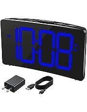 Alarm Clock, Digital Alarm Clock for Bedroom with Adjustable Brightness, Dual Alarm, Large and Clear Display, 3 Alarm Sounds, Adjustable Volume, Easy to Set, LED Electric Clock, Blue