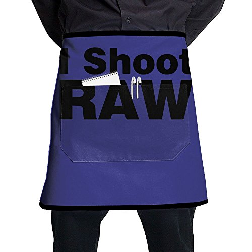 I Shoot Raw Classic Unisex Fashion Pocket Waist Apron Restaurant Waitress Waiter Half Bistro Aprons - Classic Raw Denim