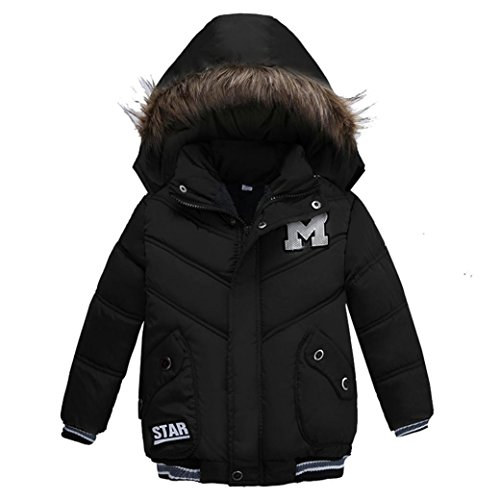 Sunbona Toddler Baby Boys Autumn Winter Down Jacket Coat Warm Padded Thick Outerwear Clothes (4T(2~3years), Black 2) ()