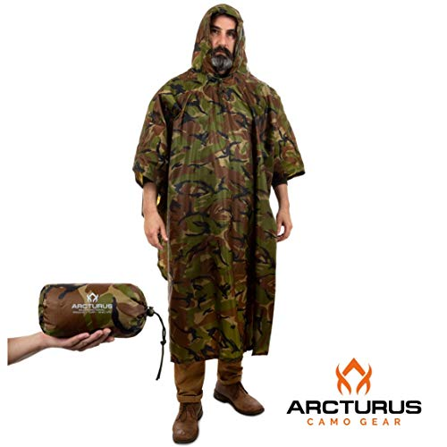(Arcturus Rain Poncho: Lightweight Ripstop Nylon Poncho with Adjustable Hood. Multipurpose, Large, Waterproof Design - Makes a Great Tarp, Backpacking Ground Cloth & Emergency Shelter (Camo))