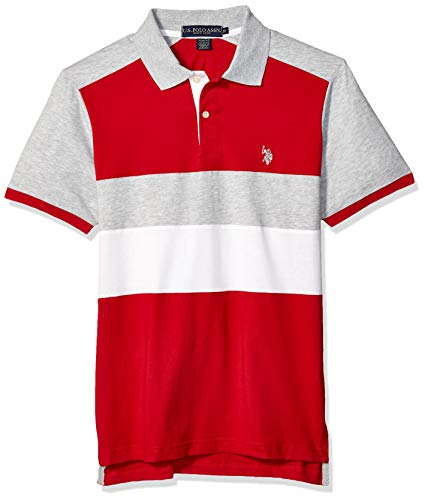 U.S. Polo Assn. Men's Short Sleeve Slim Fit Solid Jersey Polo Shirt, Engine red, L
